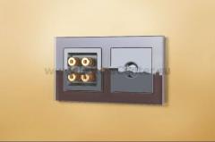 Акустическая розетка (черный матовый) Werkel Черный матовый WL08-AUDIOx4