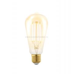 EGLO ИС 11696 Лампа светодиодная филаментная диммируемая ST64, 4W (E27), 1700K, 320lm, золотая