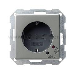 Gira E22 Сталь Розетка с/з, защитой от перенапряжения и акустич сигналом (G45120)
