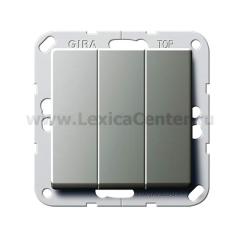 Gira E22 Сталь Выключатель3-клавишный с винт. клеммами (G284420)