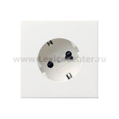 Gira F100 Бел глянц Розетка с/з с поворотом на 30 градусов (G406112)