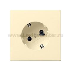 Gira F100 Крем глянц Розетка с/з с поворотом на 30 градусов (G406111)