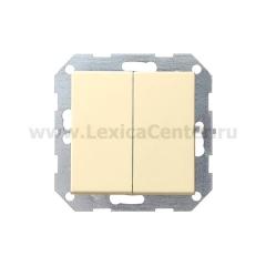 Gira S-55 Крем глянц Выключатель 2-клавишный нажимной (клавиши с самовозвратом) (G12501)