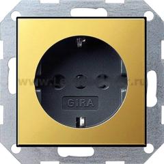 Gira S-55 Латунь/Антрацит Розетка с/з (G188604)