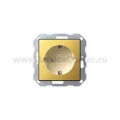 Gira S-55 Латунь/Крем Розетка с/з (G188614)