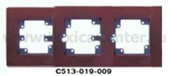 Гуси-Электрик С513-019-009 Рамка трехместная (темно-серая платформа), цвет бургунди