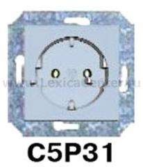 Гуси-Электрик С5Р31-004 Механизм розетки с БЗК, без ЗП, 16А/250V, цвет серебро