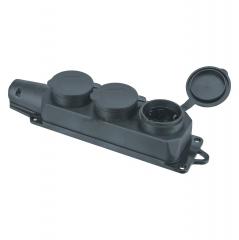 Колодка Navigator 61 372 NCA-BLR2-03-16A-E-IP44-BL 3гн с/з каучук черная