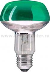 Лампа зеркальная R80 Philips 60W E27 зеленая