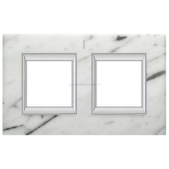Legrand Bticino Axolute HA4802/2RMC Белый мрамор Каррара Рамка 2+2 мод прямоугольная (надпись вертикально)