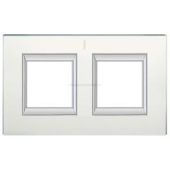 Legrand Bticino Axolute HA4802/2VSA Матовое стекло Рамка 2+2 мод прямоугольная (надпись вертикально)