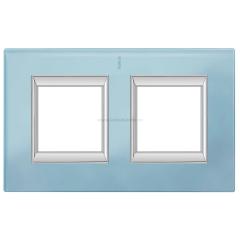 Legrand Bticino Axolute HA4802/2VZS Голубое стекло Рамка 2+2 мод прямоугольная (надпись вертикально)