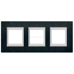 Legrand Bticino Axolute HA4802/3RLV Черный мрамор Ардезия Рамка 2+2+2 мод прямоугольная (надпись вертикально)