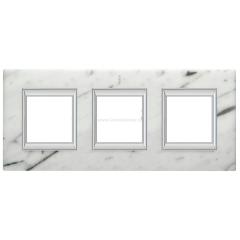 Legrand Bticino Axolute HA4802/3RMC Белый мрамор Каррара Рамка 2+2+2 мод прямоугольная (надпись вертикально)
