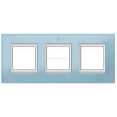 Legrand Bticino Axolute HA4802/3VZS Голубое стекло Рамка 2+2+2 мод прямоугольная (надпись вертикально)
