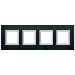 Legrand Bticino Axolute HA4802/4RLV Черный мрамор Ардезия Рамка 2+2+2+2 мод прямоугольная (надпись вертикально)