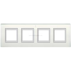 Legrand Bticino Axolute HA4802/4VSA Матовое стекло Рамка 2+2+2+2 мод прямоугольная (надпись вертикально)