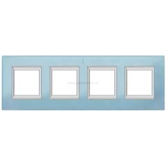 Legrand Bticino Axolute HA4802/4VZS Голубое стекло Рамка 2+2+2+2 мод прямоугольная (надпись вертикально)
