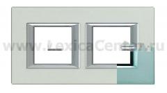 Legrand Bticino Axolute HA4802M2HAZ Темное Серебро Рамка 2+2 мод прямоугольная (надпись горизонтально)