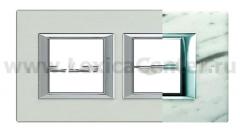 Legrand Bticino Axolute HA4802M2HRMC Белый мрамор Каррара Рамка 2+2 мод прямоугольная (надпись горизонтально)