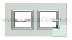 Legrand Bticino Axolute ha4802m2hsa Жемчужное Серебро Рамка 2+2 мод прямоугольная горизонтальная