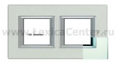 Legrand Bticino Axolute HA4802M2HVSA Матовое стекло Рамка 2+2 мод прямоугольная (надпись горизонтально)