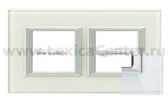 Legrand Bticino Axolute HA4802M2HVSW Whice Рамка 2+2 мод прямоугольная (надпись горизонтально)