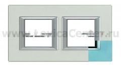 Legrand Bticino Axolute HA4802M2HVZS Голубое стекло Рамка 2+2 мод прямоугольная (надпись горизонтально)