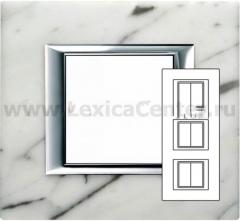 Legrand Bticino Axolute HA4802M3HRMC Белый мрамор Каррара Рамка 2+2+2 мод прямоугольная (надпись горизонтально)