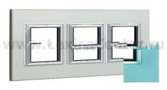 Legrand Bticino Axolute HA4802M3HVZS Голубое стекло Рамка 2+2+2 мод прямоугольная (надпись горизонтально)