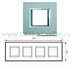 Legrand Bticino Axolute HA4802M4HAZ Темное Серебро Рамка 2+2+2+2 мод прямоугольная (надпись горизонтально)