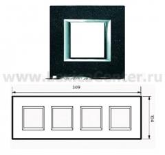 Legrand Bticino Axolute HA4802M4HRLV Черный мрамор Ардезия Рамка 2+2+2+2 мод прямоугольная (надпись горизонтально)