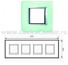 Legrand Bticino Axolute HA4802M4HVKA Кристалл Рамка 2+2+2+2 мод прямоугольная (надпись горизонтально)
