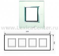 Legrand Bticino Axolute HA4802M4HVSA Матовое стекло Рамка 2+2+2+2 мод прямоугольная (надпись горизонтально)