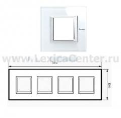 Legrand Bticino Axolute HA4802M4HVSW Whice Рамка 2+2+2+2 мод прямоугольная (надпись горизонтально)