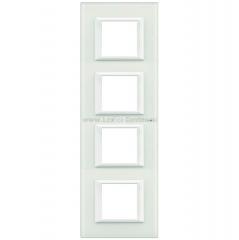 Legrand Bticino Axolute HA4802M4VBB Белое стекло Рамка 2+2+2+2 мод прямоугольная вертикальная