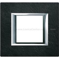Legrand Bticino Axolute HA4802RLV Черный мрамор Ардезия Рамка 2 мод прямоугольная