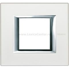 Legrand Bticino Axolute HA4802SAN Жемчужное Серебро Рамка 2 мод прямоугольная