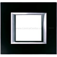 Legrand Bticino Axolute HA4802VNN Черное стекло Рамка 2 мод прямоугольная
