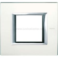 Legrand Bticino Axolute HA4802VSA Матовое стекло Рамка 2 мод прямоугольная