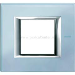 Legrand Bticino Axolute HA4802VZS Голубое стекло Рамка 2 мод прямоугольная