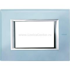 Legrand Bticino Axolute HA4803VZS Голубое стекло Рамка 3 мод прямоугольная