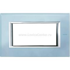 Legrand Bticino Axolute HA4804VZS Голубое стекло Рамка 4 мод прямоугольная
