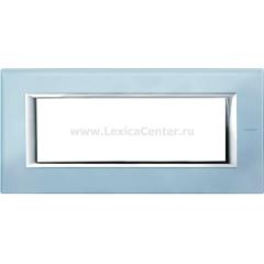 Legrand Bticino Axolute HA4806VZS Голубое стекло Рамка 6 модулей прямоугольная