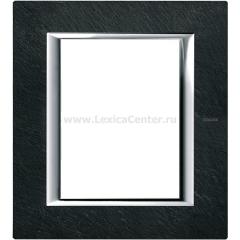 Legrand Bticino Axolute HA4826RLV Черный мрамор Ардезия Рамка 3+3 мод прямоугольная