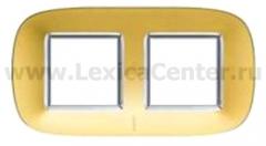 Legrand Bticino Axolute HB4802/2OS Матовое золото Рамка 2+2 мод эллипс