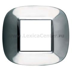 Legrand Bticino Axolute HB4802ACL Ледяная сталь Рамка 2 мод эллипс