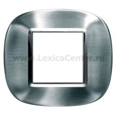 Legrand Bticino Axolute HB4802ACS Фактурная сталь Рамка 2 мод эллипс