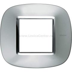 Legrand Bticino Axolute HB4802XC Зеркальный Алюминий Рамка 2 мод эллипс