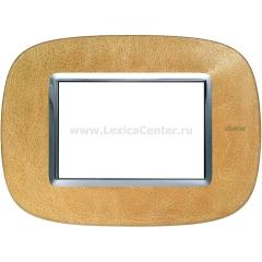 Legrand Bticino Axolute HB4803SLC Кожа Песок Рамка 3 мод эллипс